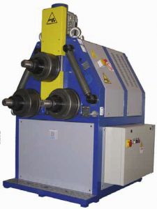 The Saf range of pyramid style ring rolling machines where all three shafts are gear driven and manufactured from hardened and grounded strength steel. These machines are very flexible and are suitable for bending a variety of sections including tube, angles, flats, I beams and special profiles. There are two models available with the HP and CN control systems.